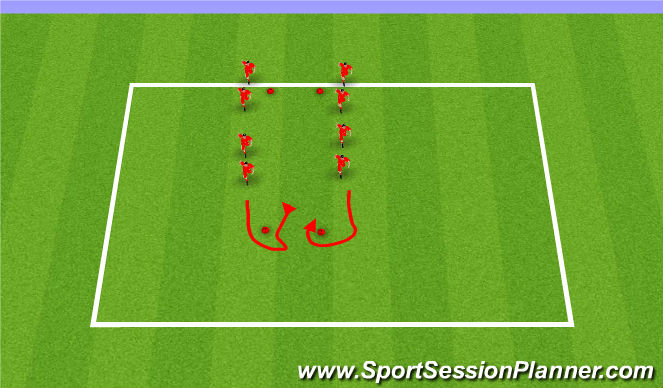 Football/Soccer Session Plan Drill (Colour): Dynamic W/U