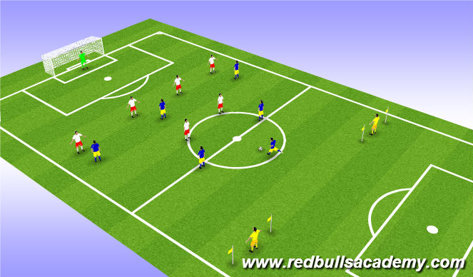 Football/Soccer Session Plan Drill (Colour): Conditioned Game - 6v7+2