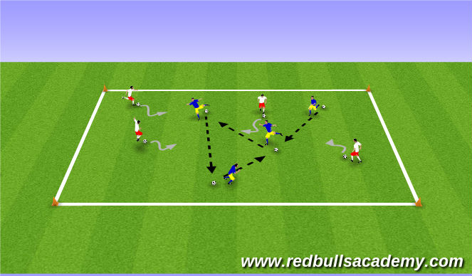 Football/Soccer Session Plan Drill (Colour): Dynamic Movements and Technical Footwork
