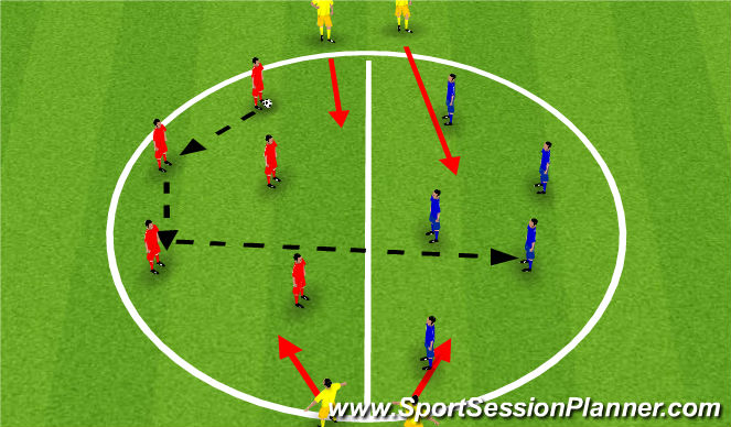 Football/Soccer Session Plan Drill (Colour): passing transition session