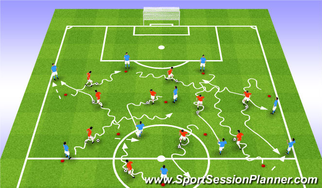 Football/Soccer Session Plan Drill (Colour): Część 1 / wariant 1