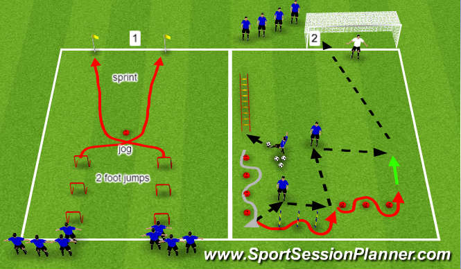 Football/Soccer Session Plan Drill (Colour): Strength & Accelaration