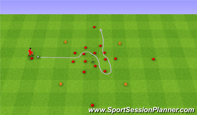 Football/Soccer Session Plan Drill (Colour): Change of pace with ball. Zmiana tempa biegu.