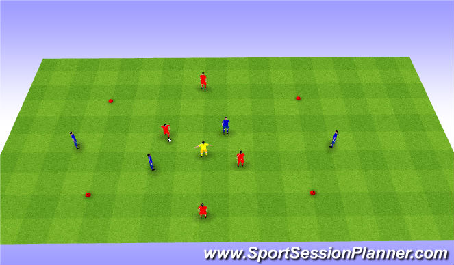 Football/Soccer Session Plan Drill (Colour): 2v2+1+2