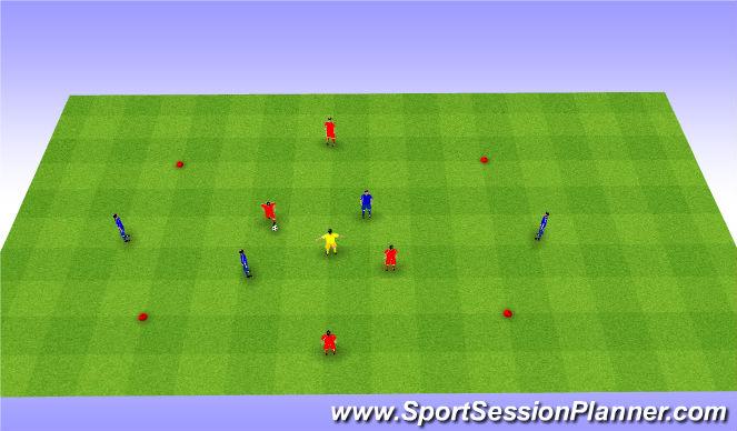 Football/Soccer Session Plan Drill (Colour): 2v2+1+2