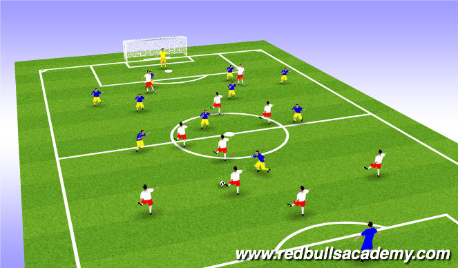 Football/Soccer Session Plan Drill (Colour): 4-2-3-1 vs 4-4-2