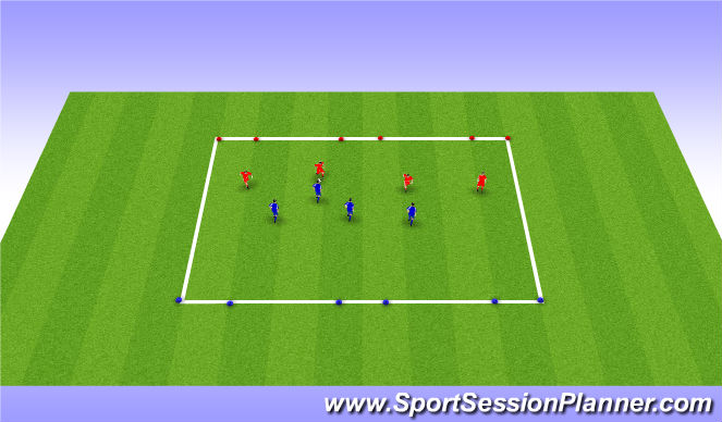 Football/Soccer Session Plan Drill (Colour): 4v4 to 3 Goals