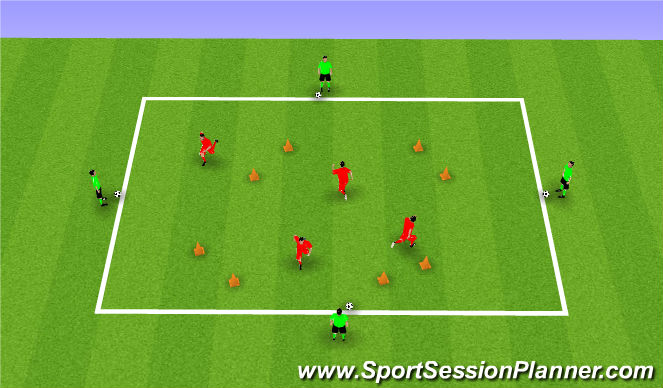 Football/Soccer Session Plan Drill (Colour): Creating space practice 1