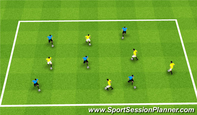 Football/Soccer Session Plan Drill (Colour): Technical Warm Ip