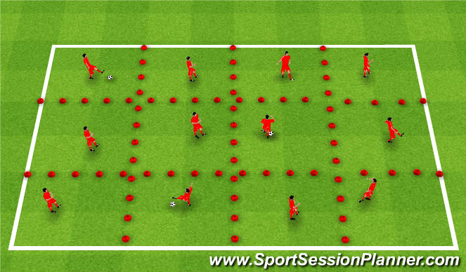 Football/Soccer Session Plan Drill (Colour): Grid Passing