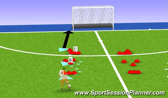 Hockey Session Plan Drill (Colour): Technisch parcours