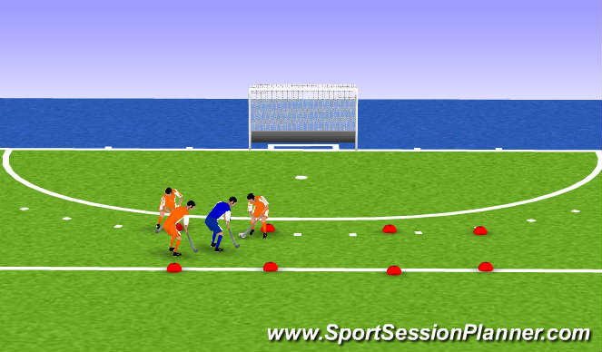 Hockey Session Plan Drill (Colour): 3-1
