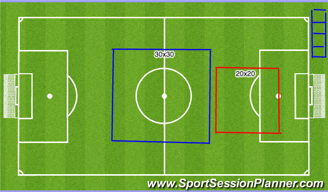 Football/Soccer Session Plan Drill (Colour): Field Setup & Warm Up