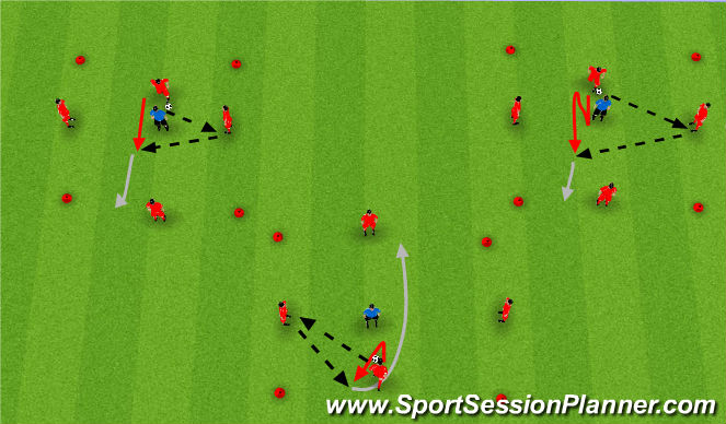 Football/Soccer Session Plan Drill (Colour): 1 v 1 King's Court with Side support