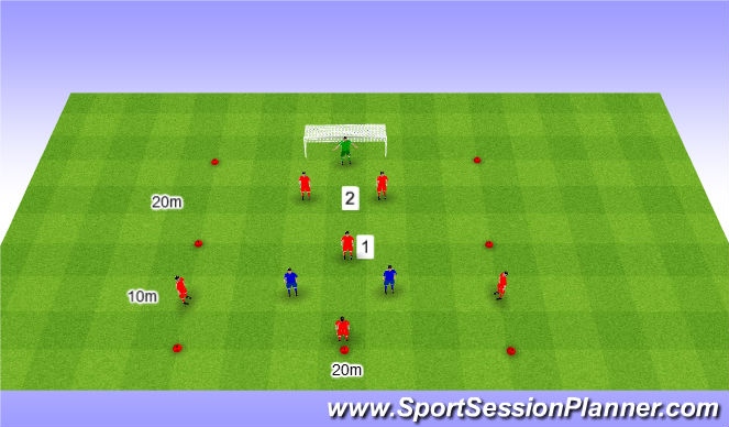 Football/Soccer Session Plan Drill (Colour): 4v2+2 in zones. 4v2+2 w strefach.