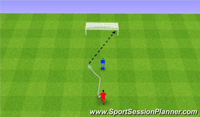 Football/Soccer Session Plan Drill (Colour): Mathewsw with shot. Zwód Mathews ze strzałem.