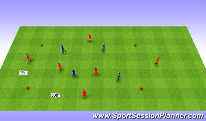 Football/Soccer Session Plan Drill (Colour): 6v4+2