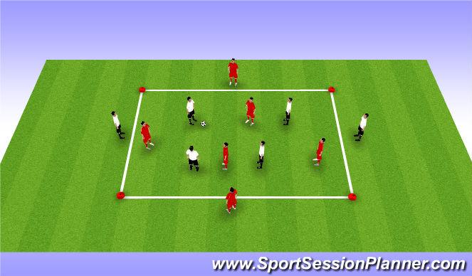 Football/Soccer Session Plan Drill (Colour): 6 v 4 Possession