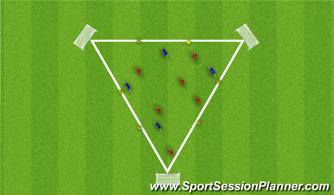Football/Soccer Session Plan Drill (Colour): Triangle Grid for Possession