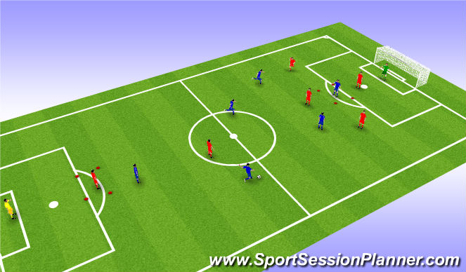 Football/Soccer Session Plan Drill (Colour): Arial control bringing others into game