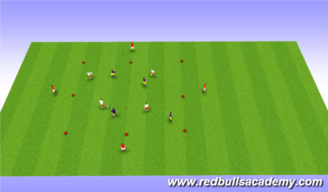 Football/Soccer Session Plan Drill (Colour): Possession: 4v4+4