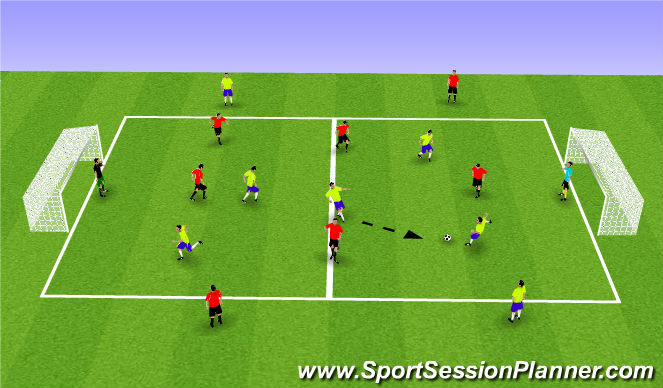 Football/Soccer Session Plan Drill (Colour): 5 vs. 5 + 4