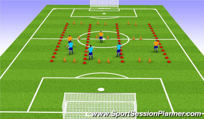 Football/Soccer Session Plan Drill (Colour): 3v3 thru 1v1 thirds