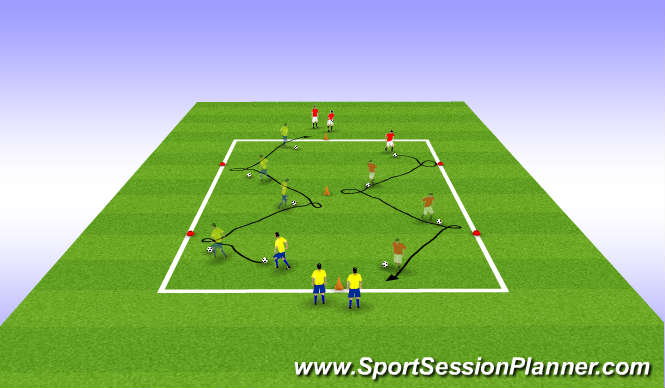 Football/Soccer Session Plan Drill (Colour): Spin off turns