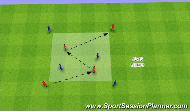 Football/Soccer Session Plan Drill (Colour): 2vs2+4