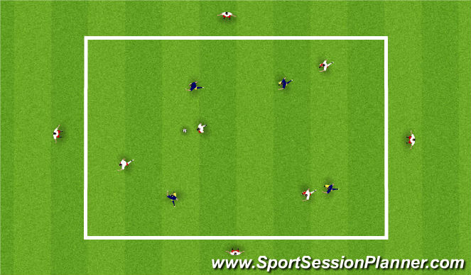 Football/Soccer Session Plan Drill (Colour): 4 v 4 + 4 passing game