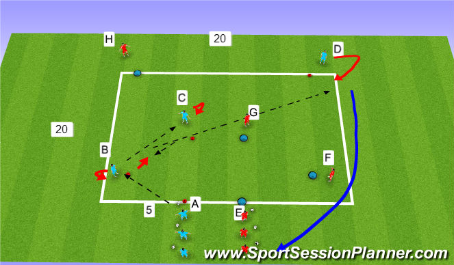 Football/Soccer Session Plan Drill (Colour): Passing prog 2