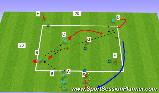 Football/Soccer Session Plan Drill (Colour): Passing Prog 3