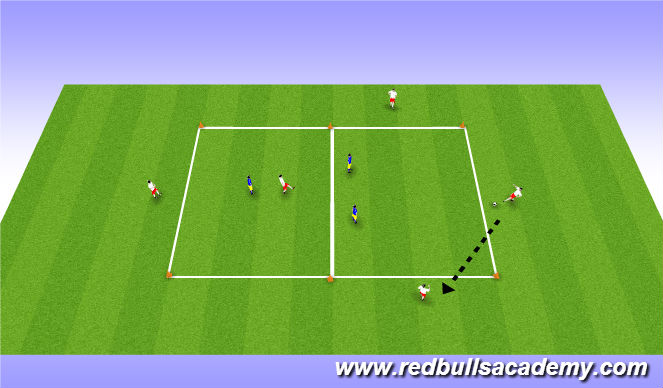 Football/Soccer Session Plan Drill (Colour): Possession game - 5 vs 3