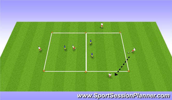 Football/Soccer Session Plan Drill (Colour): Halda bolta innan liðs - 5 vs 3