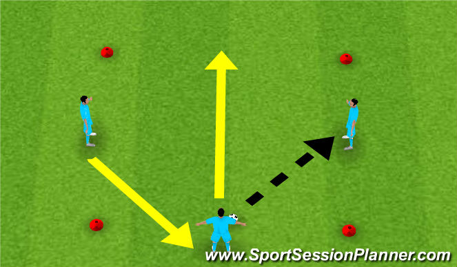 Football/Soccer Session Plan Drill (Colour): 3 Players Passing and Moving