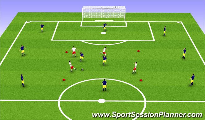 Football/Soccer Session Plan Drill (Colour): Few vs Many