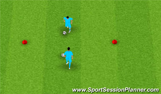Football/Soccer Session Plan Drill (Colour): Dragging with a partner