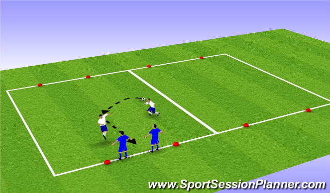 Football/Soccer Session Plan Drill (Colour): 2v2 Heading Game