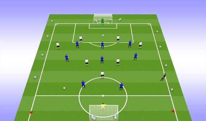 Football/Soccer Session Plan Drill (Colour): 9vs9