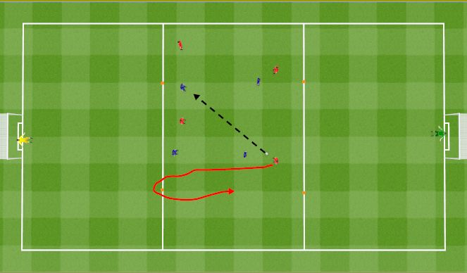 Football/Soccer Session Plan Drill (Colour): 4v4+1 recovery run after loosing possession. 4v4+1 bieg po stracie piłki.