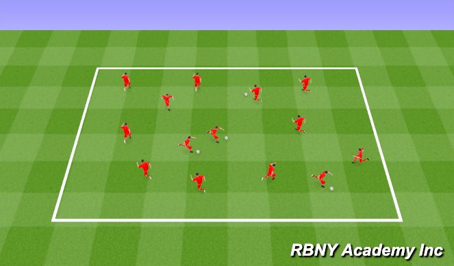 Football/Soccer Session Plan Drill (Colour): Dribbling Introduction
