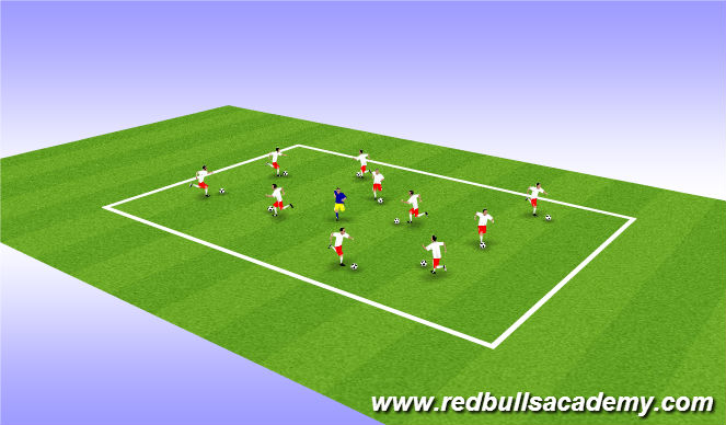 Football/Soccer Session Plan Drill (Colour): WARMUP ACTIVITY (Free Dribble)