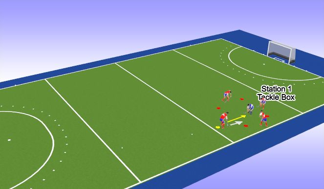 Hockey Session Plan Drill (Colour): Station 1