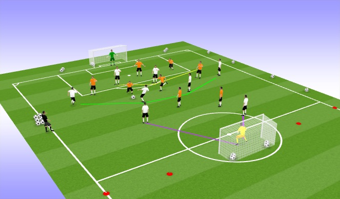 Football/Soccer Session Plan Drill (Colour): 9vs9