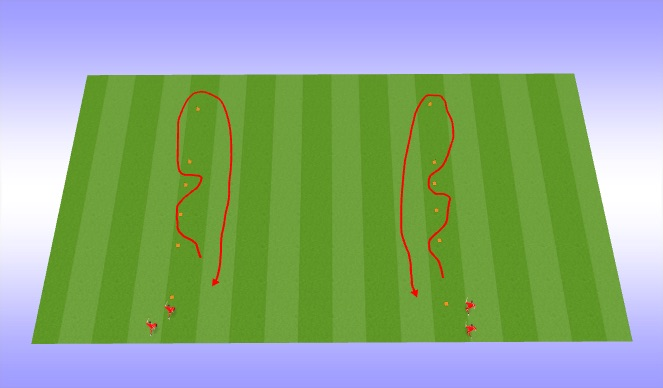 Football/Soccer Session Plan Drill (Colour): Dribble relay