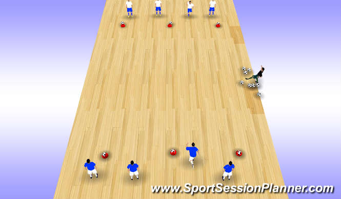 Futsal Session Plan Drill (Colour): 1v1 Game Kock the ball off the cone