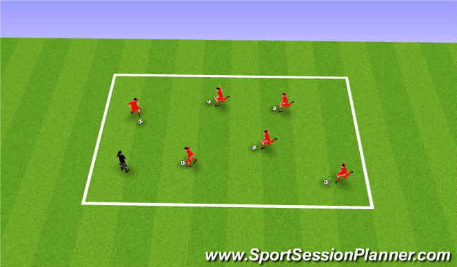 Football/Soccer Session Plan Drill (Colour): Dribbling - hit the coach
