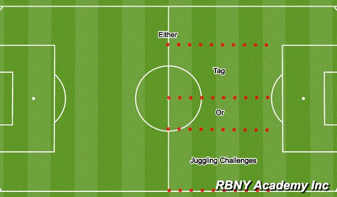 Football/Soccer Session Plan Drill (Colour): Tag/Juggling Warm up