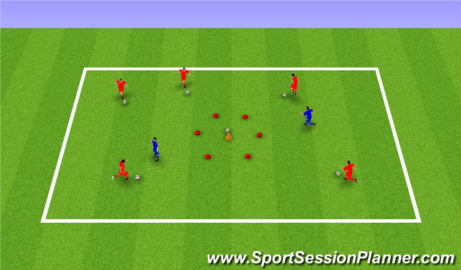 Football/Soccer Session Plan Drill (Colour): Dribbling and team play