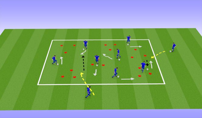 Football/Soccer Session Plan Drill (Colour): Wed - Dribble Zone Tag